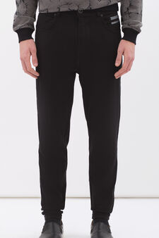 Pantaloni taglio denim felpa stretch, Nero, hi-res