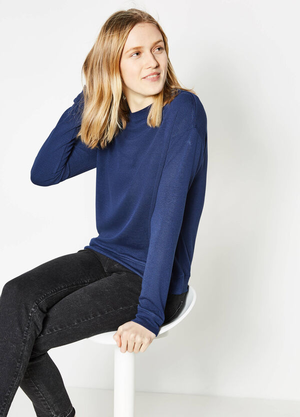 Stretch viscose sweatshirt with striped weave | OVS