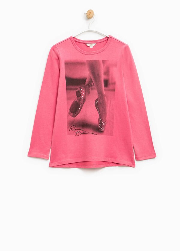 Cotton T-shirt with print and diamantés | OVS