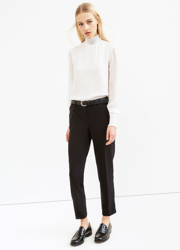 Stretch viscose trousers with crease   OVS