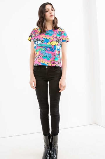 Patterned cropped T-shirt in 100% cotton, Pink, hi-res
