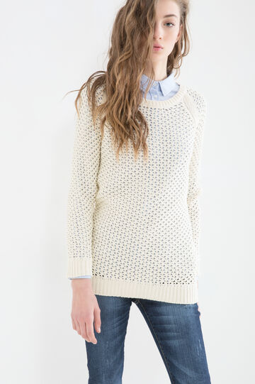 100% cotton knitted pullover, Natural, hi-res