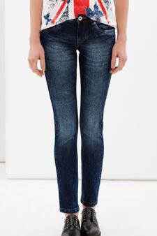 Skinny fit, worn-effect jeans, Medium Wash, hi-res