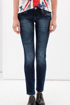 Jeans skinny fit effetto used, Lavaggio medio, hi-res