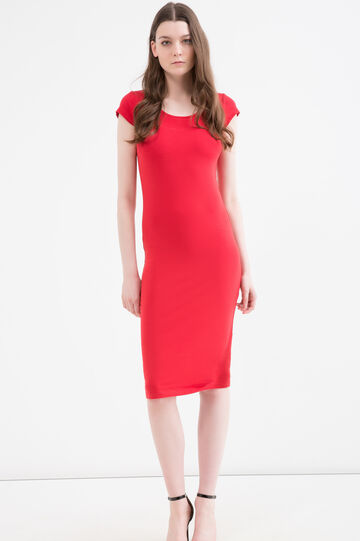 Solid colour stretch pencil dress