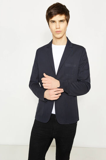 Blazer slim fit stretch con taschino, Blu, hi-res