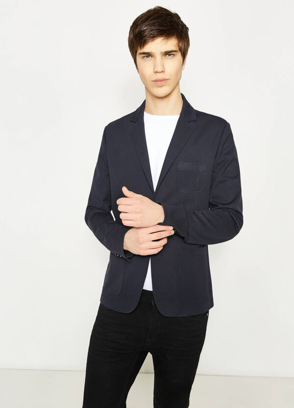 Slim-fit stretch blazer with pocket | OVS
