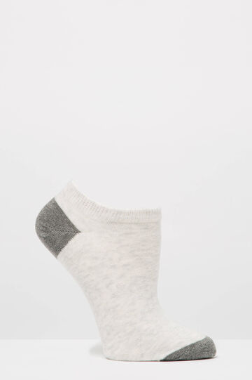 Two-pair pack short stretch socks in cotton, Grey/Pink, hi-res