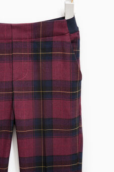 Check pattern stretch trousers, Red, hi-res
