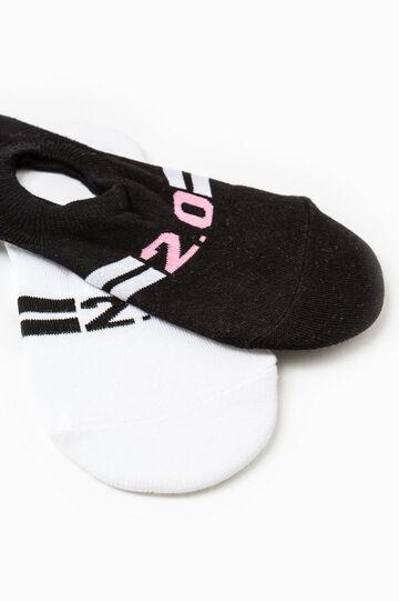 Set due paia calze salvapiedi, Nero/Bianco, hi-res