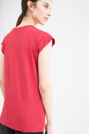 T-shirt puro cotone stampa lettering, Rosso, hi-res