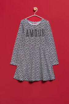 Printed dress in stretch cotton, Grey, hi-res