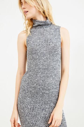 Long ribbed dress in stretch viscose, Grey Marl, hi-res