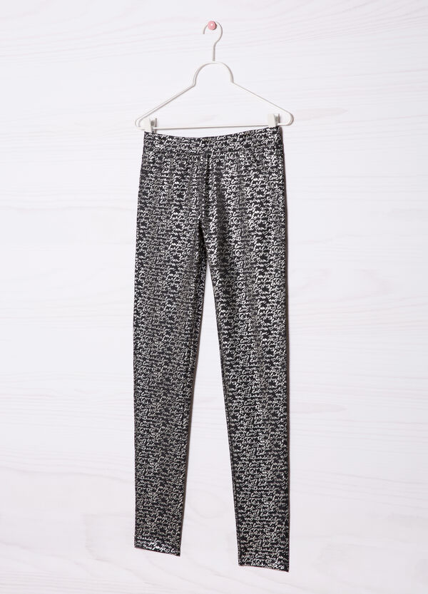 Stretch jeggings with pattern in contrasting colour. | OVS