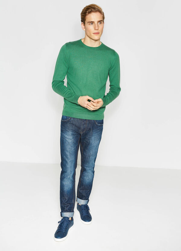 Cotton blend round neck pullover | OVS
