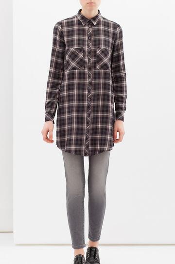 100% cotton large check shirt, Black/Grey, hi-res