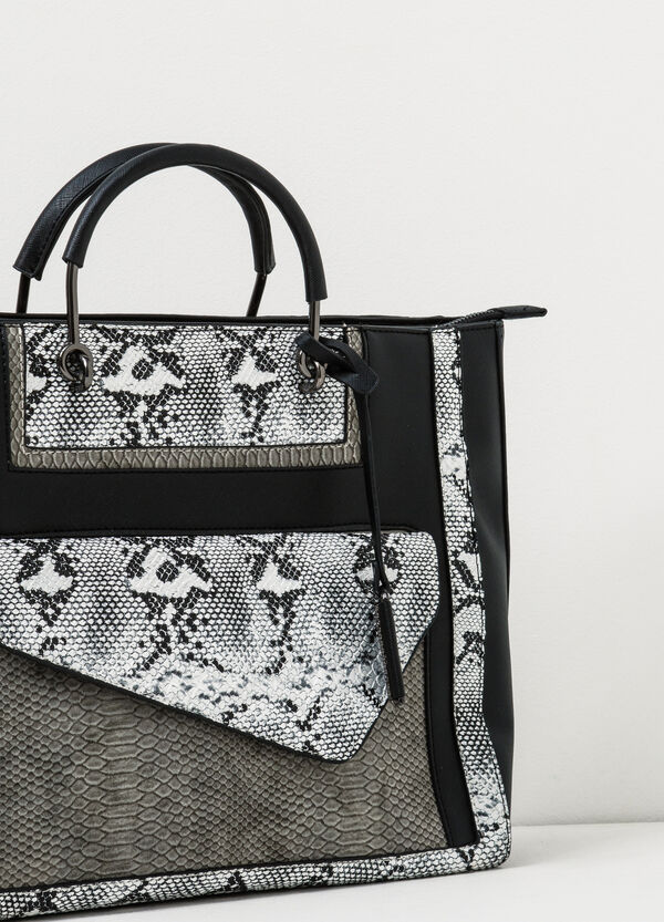 Hand bag with snakeskin look inserts | OVS