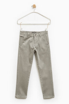 Stretch trousers with pocket with zip, Light Grey, hi-res