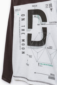 100% cotton T-shirt with print, Black/Grey, hi-res
