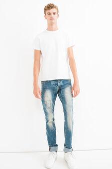 Jeans slim fit stretch effetto maltinto, Denim, hi-res