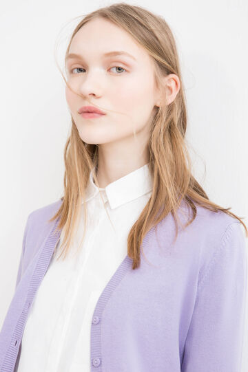 100% cotton cardigan with pockets, Lilac, hi-res