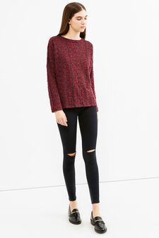 Jacquard sweatshirt with geometric pattern, Claret Red, hi-res