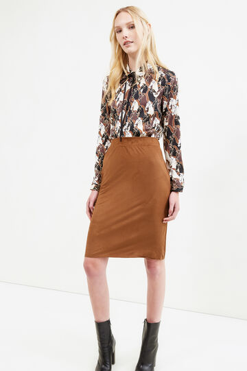 Stretch suede midi skirt, Brown, hi-res