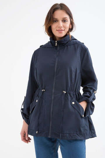Curvy parka with large pockets, Navy Blue, hi-res