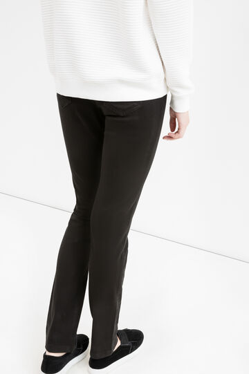 Stretch cotton trousers with high waist, Black, hi-res