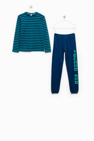 Pyjamas with lettering print and striped pattern, Blue/Green, hi-res