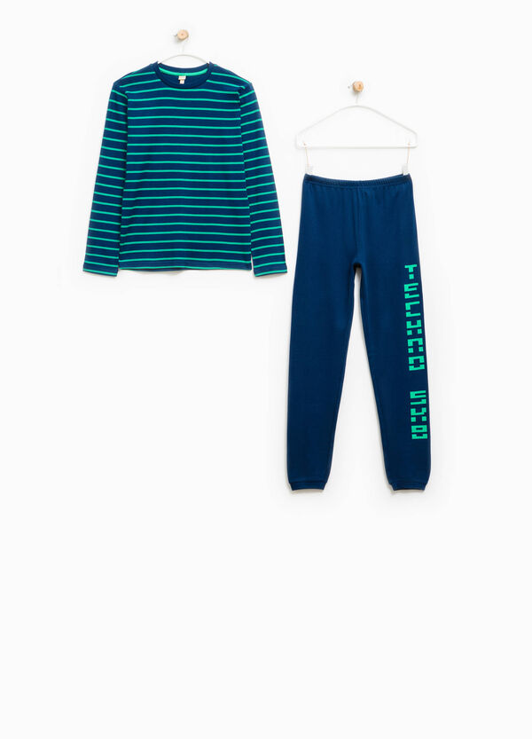Pyjamas with lettering print and striped pattern | OVS