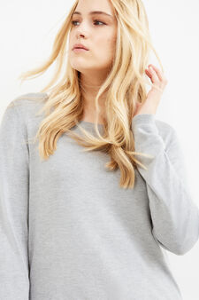 Curvy solid colour viscose pullover, Grey Marl, hi-res