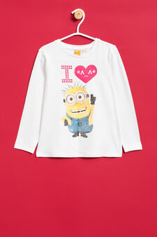 Minions print stretch T-shirt with sequins, White, hi-res
