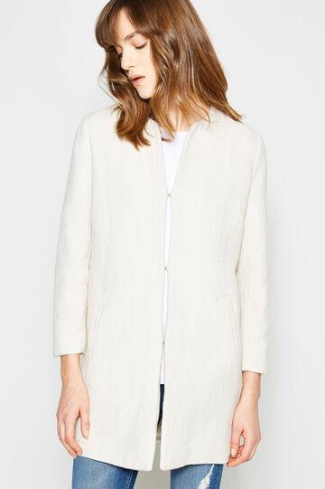 100% cotton coat with crew neck, Cream White, hi-res