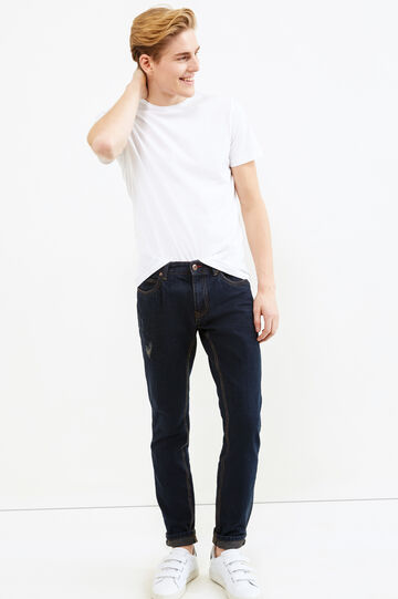 Slim fit jeans with stitching in contrasting colour, Denim, hi-res