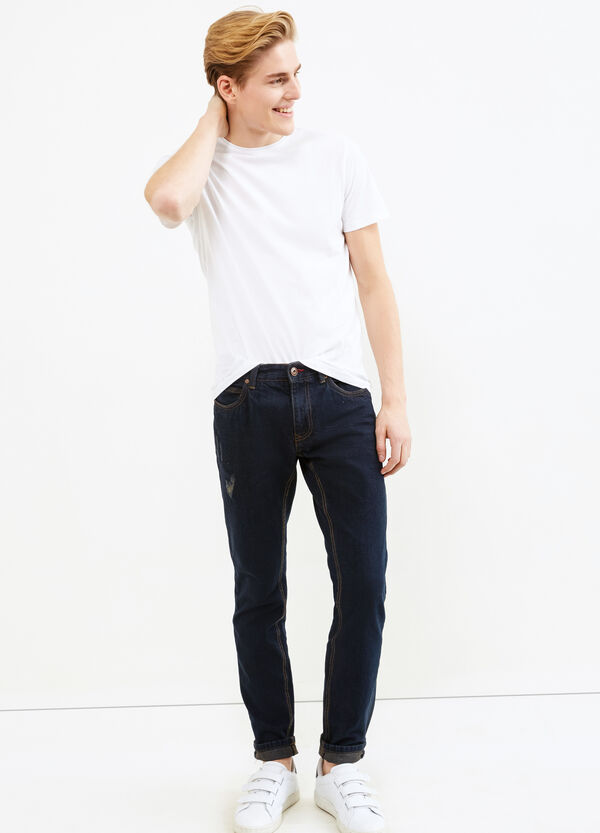 Slim fit jeans with stitching in contrasting colour | OVS