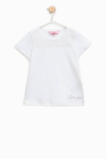 Cotton T-shirt with lace and diamantés