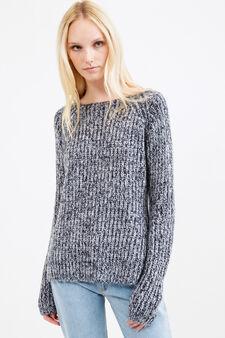 Pullover mélange lavorato tricot, Bianco/Blu, hi-res