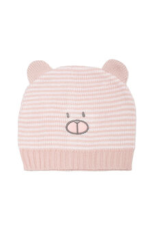 Embroidered knit beanie cap, White/Pink, hi-res