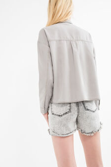 Denim shirt with pocket, Grey, hi-res