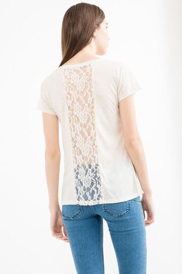 Viscose T-shirt with lace insert on the back, Natural, hi-res