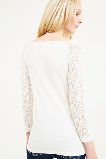 100% cotton T-shirt with lace, Milky White, hi-res
