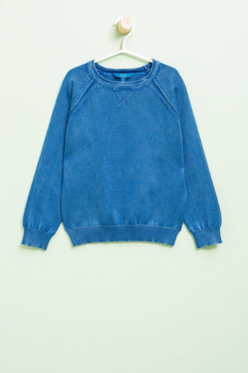 Knitted crew neck pullover in 100% cotton, Royal Blue, hi-res