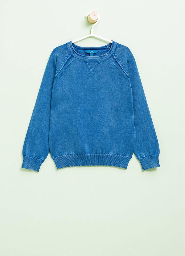 Pullover girocollo in puro cotone tricot | OVS