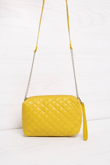 Quilted mini bag with shoulder strap, Yellow, hi-res