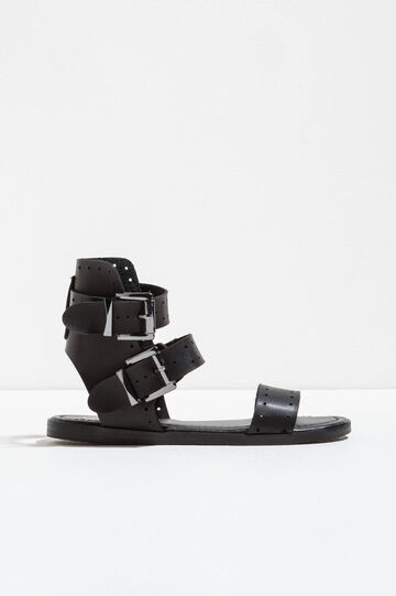 Sandals with openwork bands on the upper