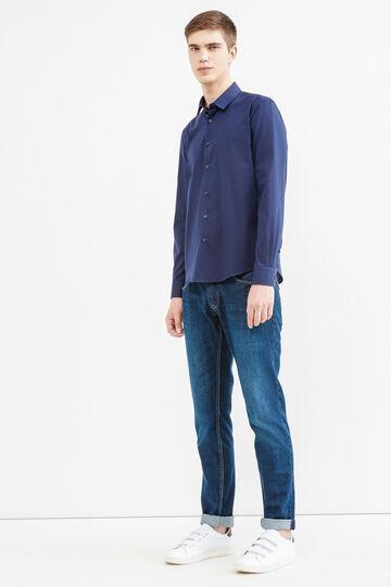 Camicia casual micro righe cotone, Blu scuro, hi-res