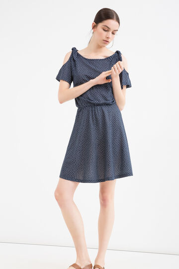 Dress in 100% cotton with short sleeves, Blue, hi-res