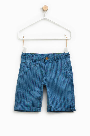Chino Bermuda shorts with all-over print, Blue, hi-res