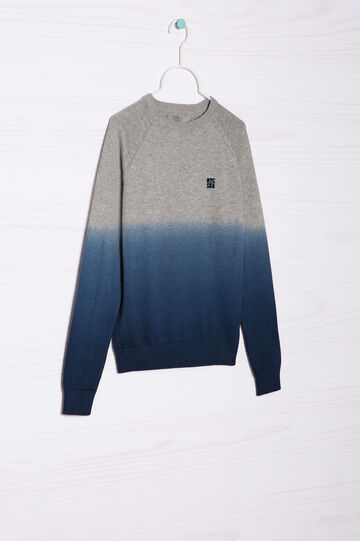 100% cotton knitted pullover, Grey/Blue, hi-res